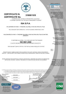 Certificazione RINA 9001:2008